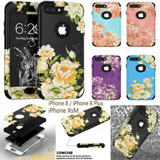 Flowers Hybrid Shockproof Armor Bumper Silicone Case Cover for iPhone 8 /XR /XRM