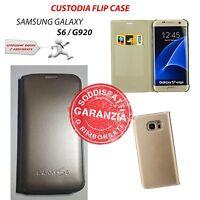 CUSTODIA COVER FLIP ORO GOLD per SAMSUNG GALAXY S6 SM-G920F + PELLICOLA + PANNO