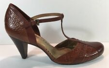 Gianni Bini Brown Strappy Buckle Leather Studded Snakeskin Print Pumps size 10M