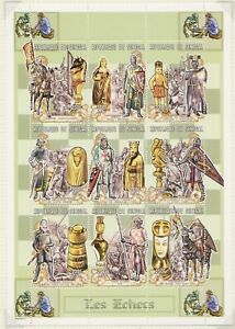 1999 SENEGAL CHESS PIECES SCENES OF THE CRUSADES 3 FULL SHEETS SG MS1566