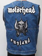 vtg MOTORHEAD BLUE JEAN VEST SMALL Biker Denim Rock Punk Metal Jean Arizona S