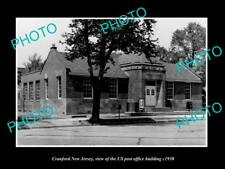 OLD LARGE HISTORIC PHOTO OF CRANFORD NEW JERSEY, US POST OFFICE BUILDING c1930