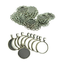 30pcs Round Blank Tray Necklace Pendant Tibetan Silver DIY Jewelry Making
