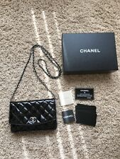 CHANEL Brilliant Black Patent Leather Wallet on a Chain WOC Bag Made In France