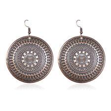 BIG LARGE Round Earrings Dangle Ethnic Tribal Aztec Bronze VTG Hippie Boho Drop