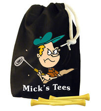 Black Cotton Personalised Tee Bag with 100 Small Plain 54mm Long Golf Tees