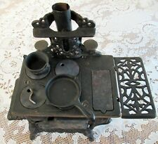 Vintage Child's Crescent Cast Iron Cook Stove w Accessories Salesman Sample