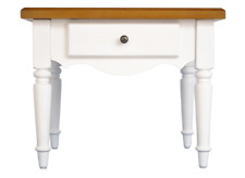White / Oak Effect 1 Drawer Lamp / End Table W57cm x D53cm x H45cm ELSIE
