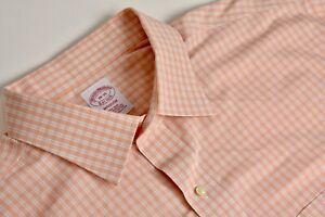 Brooks Brothers Madison Fit Orange Checked Point Collar Dress Shirt Size: 18/35