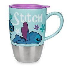 Disney Store Stitch Ceramic Travel Mug Blue Metal 16 oz. Coffee Cup Lilo 2017