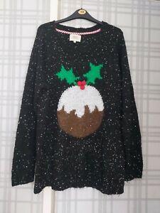 Christmas Jumper Xl Christmas Pudding Sequins Matalan womens ladies