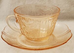 Depression Glass, Pink, Tea/Coffee Cup and Saucer, American Sweetheart Design