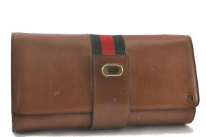 Authentic BALLY Leather Clutch Bag Brown C3671