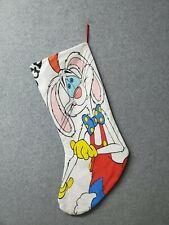 "Handmade 18"" Christmas Stocking Upcycled Tee Cartoon Roger Rabbit Worn Stains"