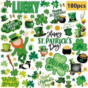 St Patricks Day Decorations Window Clings Shamrock Green Hat Shoes Gold Coins