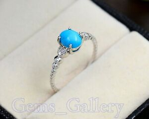 925 Sterling Silver 6X8 MM Turquoise Natural Gemstone Engagement Ring For Women