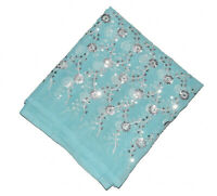 Vintage Indian Classic Dupatta Long Scarf Floral Hand Beaded Fabric Veil Stole L