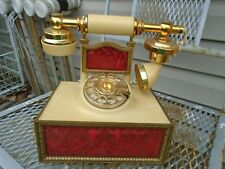 Vintage French phone Rotary Red Damask Mid Centuy mod Deco- tec phone art deco