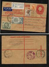 Australia  uprated postal registered envelope to US        JS1229