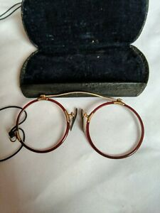 ANTIQUE BOXED PAIR OF SPECTACLES 10ct gold plated