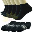 3 6 9 12 Pairs BLACK Ankle/Quarter Crew Mens Socks Cotton Low Cut Size 10-13