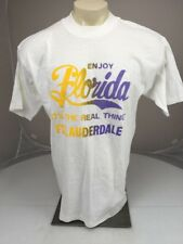 """VTG 90s ENJOY FLORIDA """"Its The Real Thing""""FT. LAUDERDALE t-shirt White XL USA"""