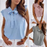 Women Polka Dot Bow Collar T Shirt Tops Ladies Ruffle Sleeveless Shirts Blouse