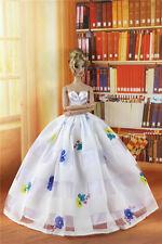 Fashion Royalty Princess White  Wedding Dress gown for Barbie Doll b058