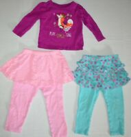 LOT of 3 Girls Long Sleeve Fox Tee Shirts & 2 Skirts w/ Pants Outfit 24M 2T pink