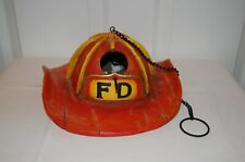 Fireman Helmet Hanging Bird House & Feeder With Chain, Red Rare