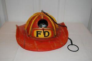 Fireman Helmet Hanging Bird House & Feeder With Chain, Red RARE