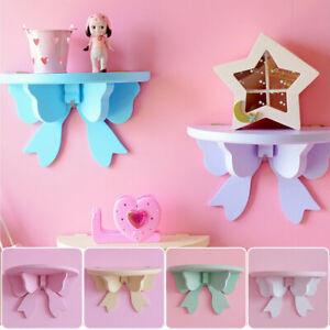 Wooden Bowknot Storage Rack Clapboard Photo Wall Shelves Girls Cute Room Decor