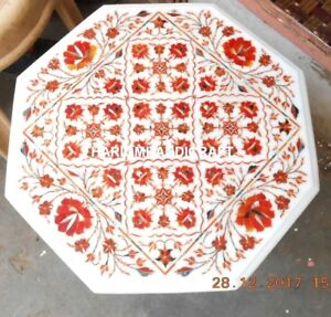 24'' Marble Side Coffee Table Top Carnelian Floral Inlay Newyear Home Decor M228