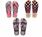 Havaianas Slim Tribal White,Blue,Black Women's Flip Flops Size
