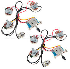 2 Sets Strat Guitar Wiring Harness 5 Way Blade Switch 500K Full Size Pot Lefty