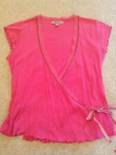 Monsoon Deep Pink Wrap around with Velvet Tie and Lace to V-Neckline Size 12