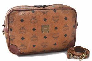Auth MCM Cognac Visetos Leather Vintage Shoulder Cross Body Bag Brown  C2944