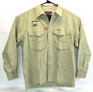 Simms Men's Long-Sleeve Button Down Fishing Shirt Sunrise Fly Shop Logo Sz Large