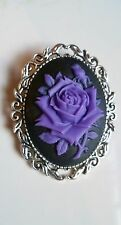 Purple Rose Brooch Medieval Pin Pagan Gothic Black Cameo Silver Tone Wedding
