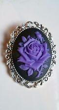 Purple Rose Brooch Medieval Pin Pagan Gothic Black Cameo Silver Tone Wedding