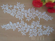 Wholesale 20 Pair/lot 10.5cm Ivory Embroidered Lace Edge Trim Ribbon Sewing