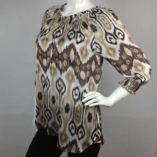 Chico's Women's 3/4 Sleeve Blouse Size 0 NWT Brown Silky Peasant Top