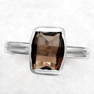 Smoky Topaz - Brazil 925 Sterling Silver Ring s.9 Jewelry 3135