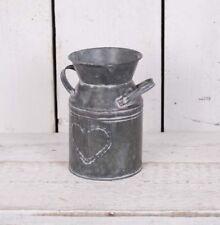 Shabby Metal Milk Churn Heart Detail Vintage Style Wedding Flower Vase Pot Jug
