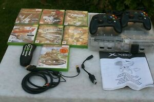 Xbox Original Crystal Console, Leads, Controllers, Remo & 5 games - Fully Worki