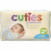 Cuties Complete Care Baby Diaper, SIZE N, 0-10 lbs., Newborn, CCC00 - Pack of 40