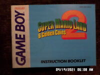 """Super Mario Land 2 """"6 Golden Coins (Gameboy) GB Instruction Manual Only. NO GAME"""
