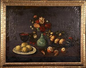 HUGE EARLY 19th CENTURY SPANISH OLD MASTER OIL CANVAS - STILL LIFE - TO RESTORE