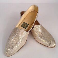 Nos Gold & Silver Lame Slipper Shoes Boho Gypsy Sparkle Rockabilly Retro Size 7