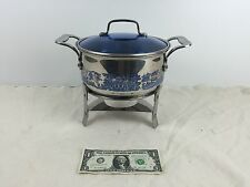 Cuisine Cookware Stainless Blue Willow 3 Qt Pot & Chafing Dish; Cook & Serve